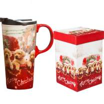 17 OZ. Ceramic Travel Mug Porcelain Coffee Cup with Gift Box