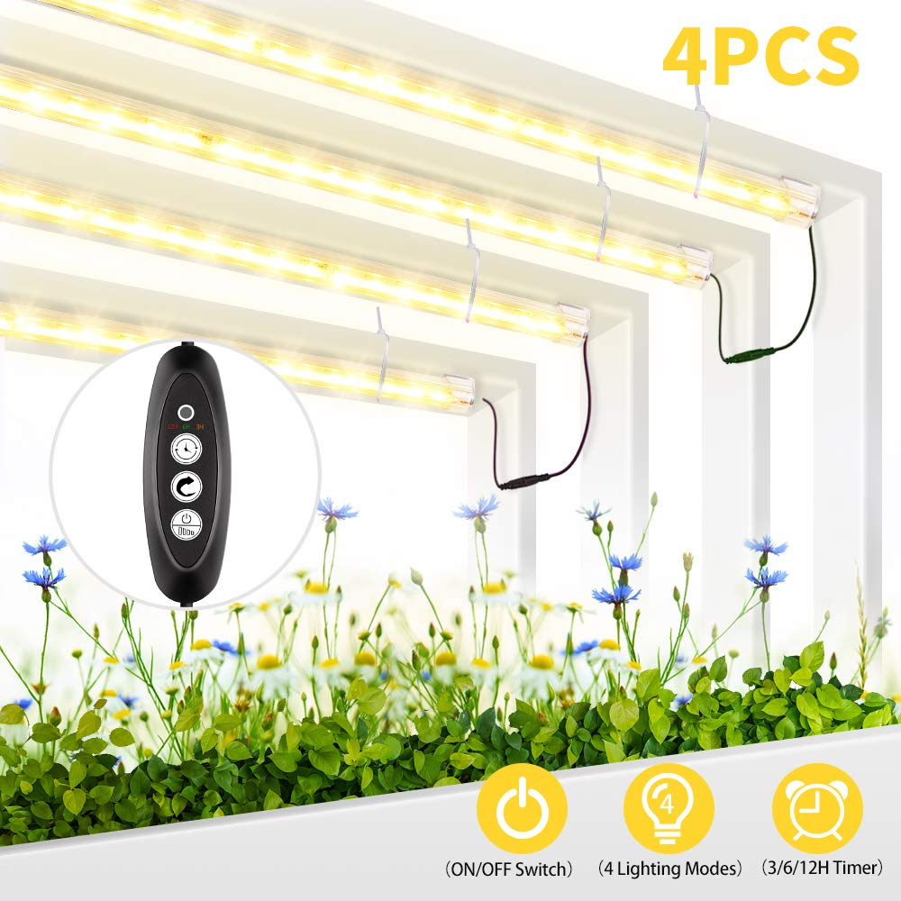 Roleadro Grow Light for Indoor Plants, 3500K Full Spectrum Grow Lamp with Timer/Extension Cables Plant Lights Bar 4 Dimmable Levels for Indoor Plants Tent Seedling Hydroponics - 4Pack