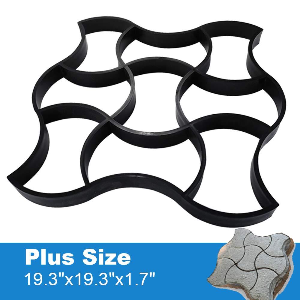 "Plus Size 19.3""x19.3""x1.7""Walk Maker Concrete Path Maker Molds Pathmate Stone Moldings Stepping Stone Paver Lawn Patio Yard Garden DIY Walkway Paving Cement Moulds (I Shape)"