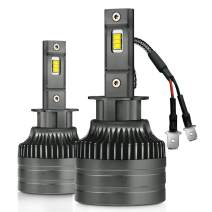 Mdatt H1 LED Headlight Bulbs - Brighter and Focus 13500Lm 6500K 100W Top Chips - 360° Adjustable 1:1 All in One Design - Hight Power- Fit For High/Low Beam Fog Light Conversion Kit - IP68 -Silent Fan