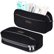 Homecube Big Capacity Pencil Pen Case Bag Pouch Holder Multi-Pocket Stationery Bag with Zipper for School & Office Supplies Middle High College Girl Adult - Black