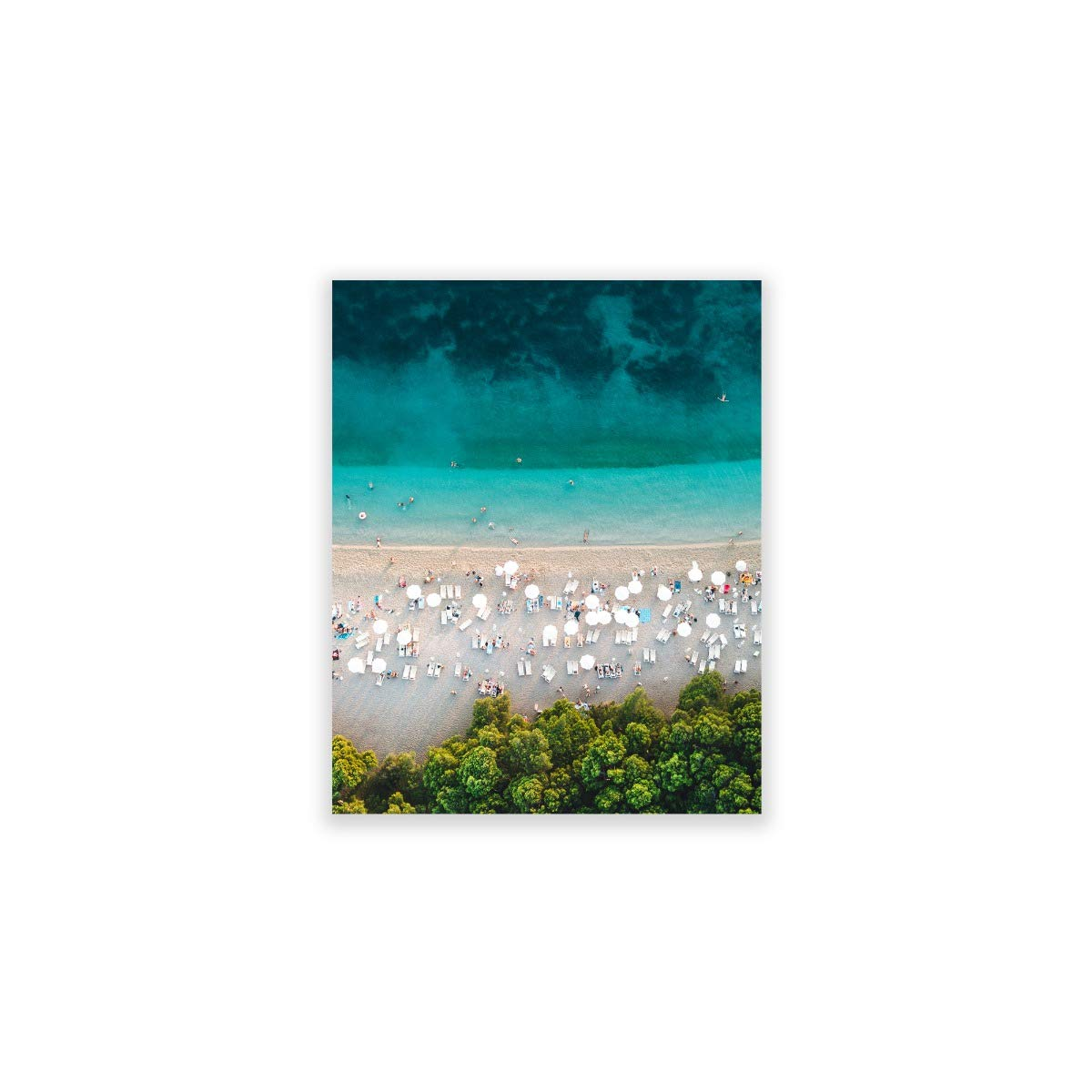 Humble Chic Wall Art Prints - Unframed HD Printed Beach Picture Poster Decorations for Home Decor Living Dining Bedroom Bathroom College Dorm Room - Ombre Beach Aerial Ocean, 8x10 Vertical