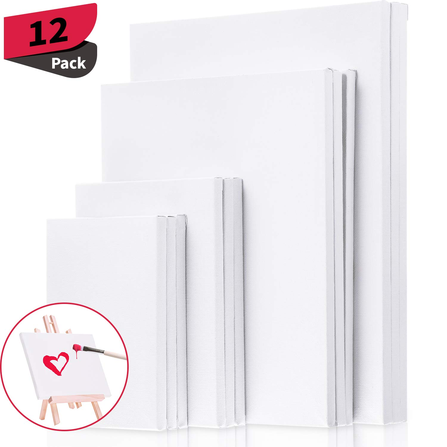 12 Pieces Assorted Size Mini Art Canvas Stretched for Craft Painting Drawing (4 x 6 Inches/ 5 x 7 Inches/ 8 x 10 Inches/ 9 x 12)