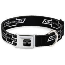Buckle-Down Dog Collar Seatbelt Buckle 1965 Chevrolet Bowtie Black White Available in Adjustable Sizes for Small Medium Large Dogs