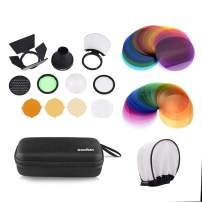 Godox AK-R1 Accessories Kit with Godox V11C Color Effect Set and V11T Color Temperature Adjustment Set for Godox V1 Series Flash V1-C V1-S V1-F V1-N V1-O V1-P,AD200 AD200PRO with H200R Ring Flash Head