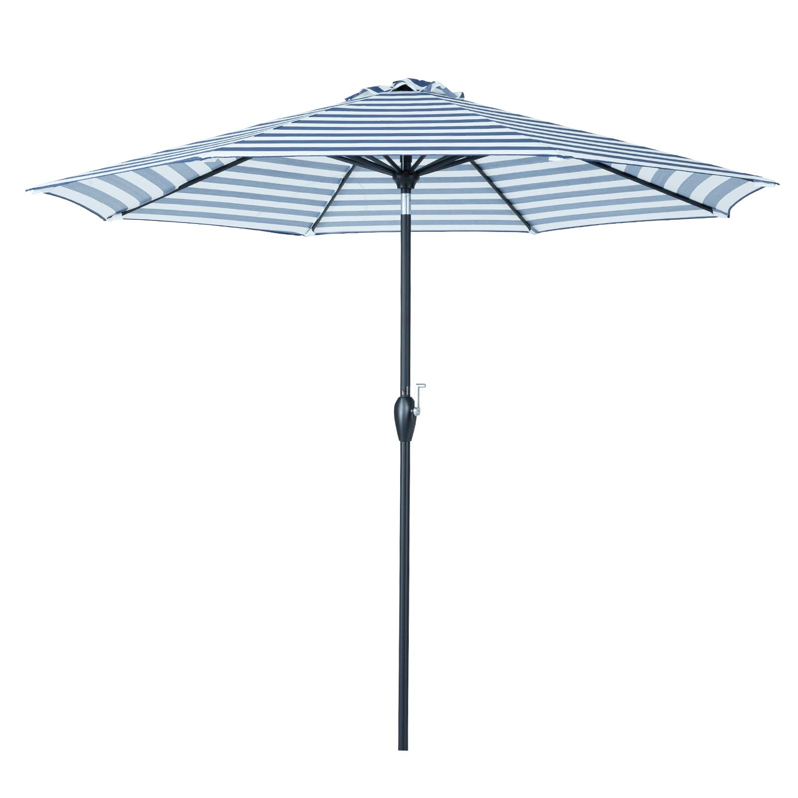 Tempera 9 ft Auto-Tilt Patio Umbrella Outdoor Market Umbrella, 8 Steel Ribs, Blue White Stripe