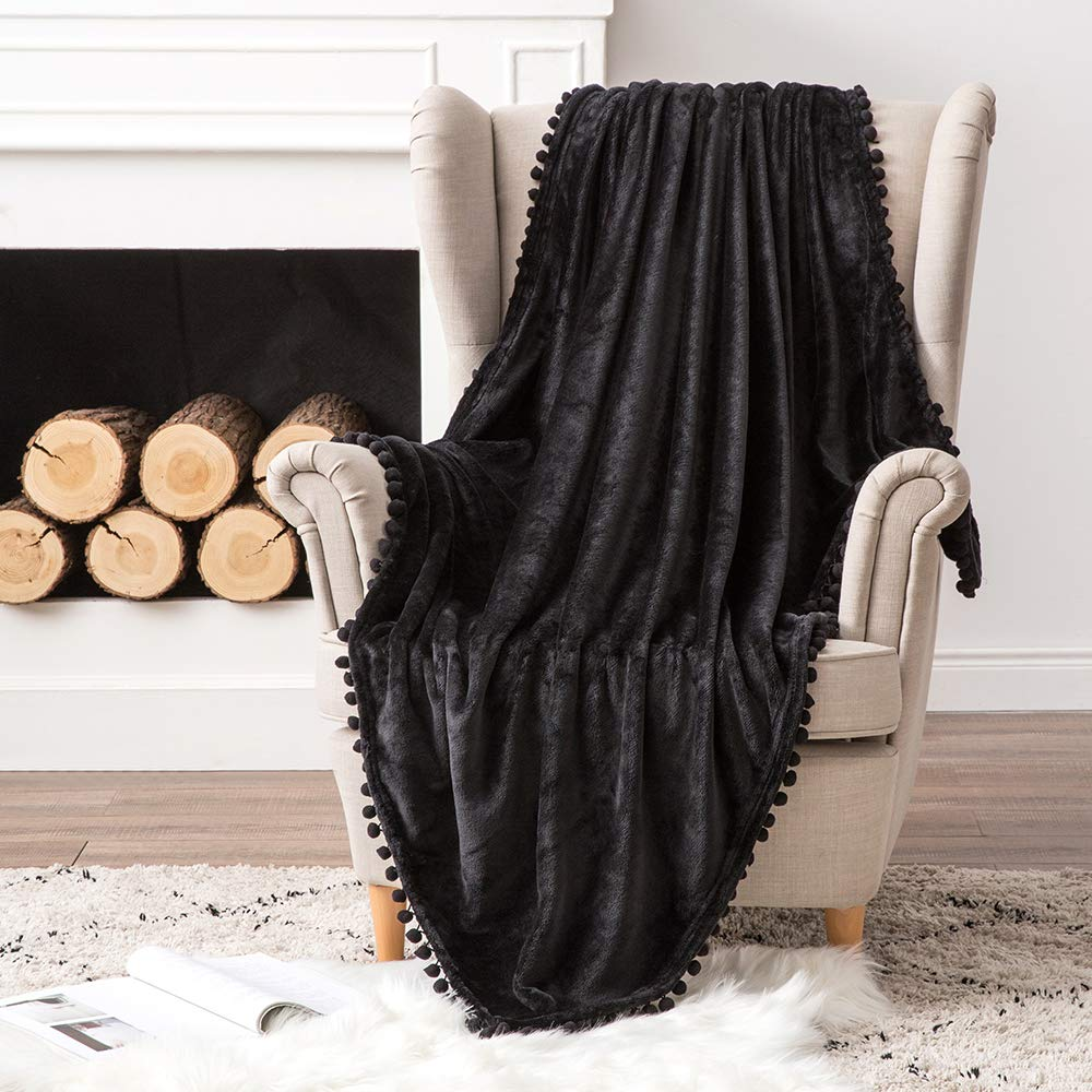 MIULEE Ultra Soft Fleece Blanket Luxurious Fuzzy for Couch or Sofa Lightweight Fluffy Warm Bed Blanket with Cute Pompom Tassels - Super Cozy for Napping Sleeping Twin Size 60x80 inches Black