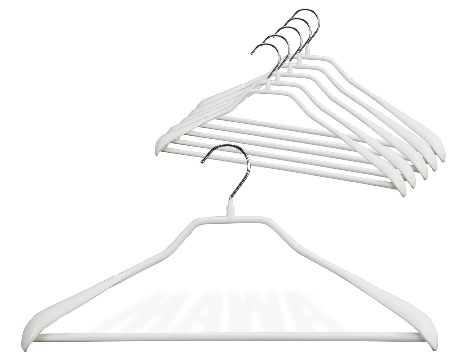 "Mawa by Reston Lloyd BodyForm Series Non-Slip Space-Saving Clothes Hanger with Bar for Pants, 16-1/2"", Style 42/LS, Set of 6, White"
