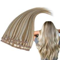 RUNATURE Brazilian Hair Clip in Extensions Human Remy Hair (14 Inches, 50g, 3pcs, Color 10P613) Golden Brown Highlighted with Blonde Silky Straight Lace Clip in Hair Extensions