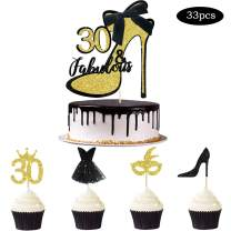 33pcs Black Gold Glitter 30 & Fabulous Cake Topper Thirty and Fabulous Cake Topper Cupcake Toppers Kits for Women Happy 30th Birthday Wedding Celebration Anniversary Cake Decoration