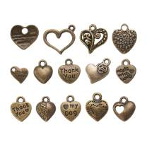 Craftdady 100Pcs Mixed Set of Antique Bronze Small Love Heart Charms 7-15x7-15mm Tibetan Vintage Metal Sweet Heart Pendants Collection for DIY Jewelry Craft Making