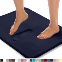 Gorilla Grip Original Thick Memory Foam Bath Rug, 30x20, Cushioned, Soft Floor Mats, Absorbent Premium Bathroom Mat Rugs, Machine Washable, Luxury Plush Comfortable Carpet for Bath Room, Navy Blue
