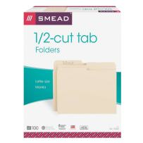 Smead File Folder, 1/2-Cut Tab, Assorted Position, Letter Size, Manila, 100 Per Box (10320)