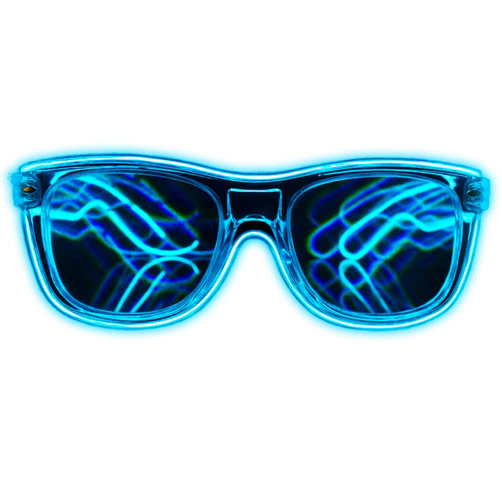 GloFX Blue EL Wire Wrapped Diffraction Glasses - LED Rainbow Rave Glasses Light Up Glowing Flashing EDM Party