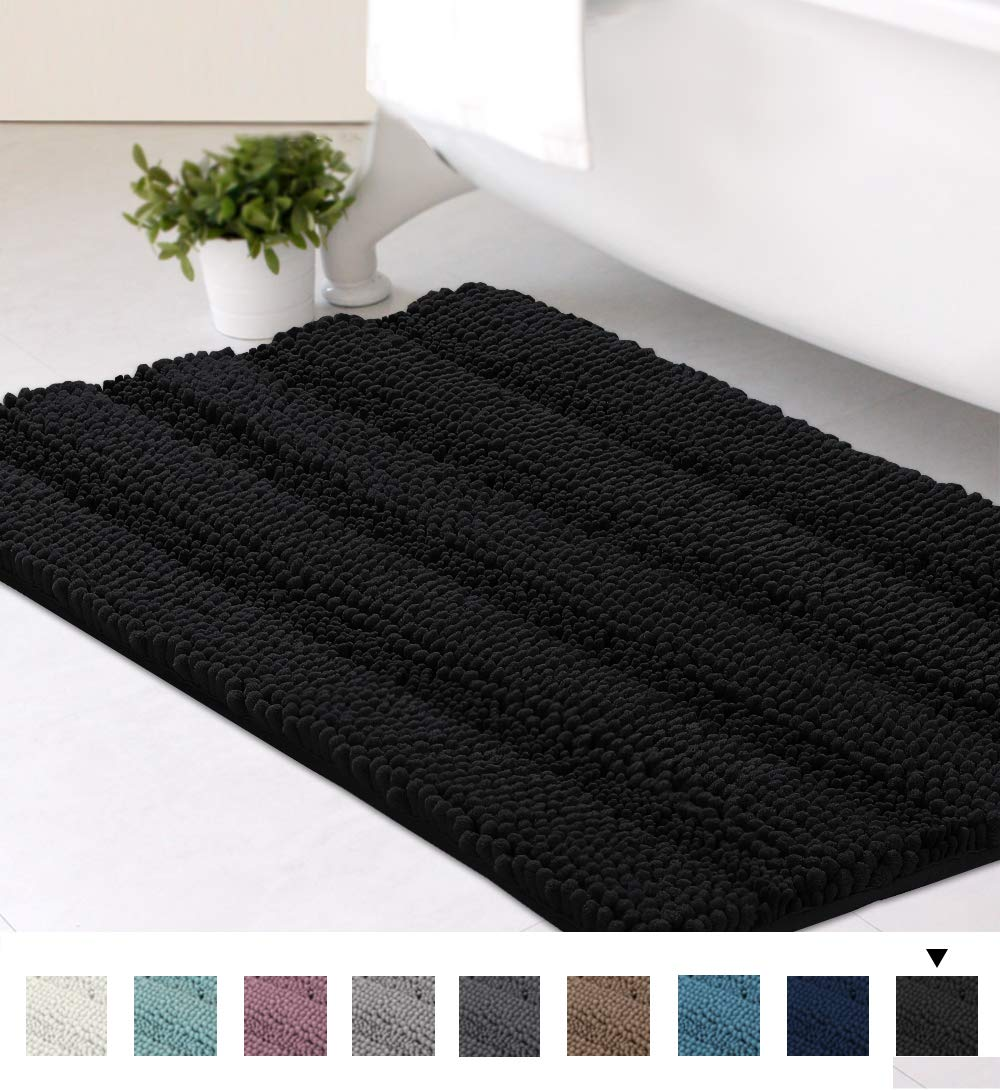 Striped Luxury Chenille Bathroom Rug Mat 20x32 Inch Extra Soft and Absorbent Shaggy Rugs Dry Quickly Plush Rug Carpet for Tub/Toilet/Shower Machine Washable, Jet Black