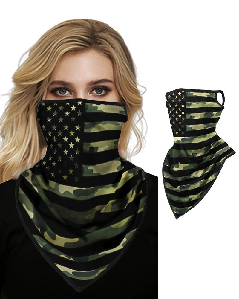 Face Bandana Ear Loops Face Rave Balaclava Scarf Neck Gaiters for Dust Wind Motorcycle Mask Men and Women