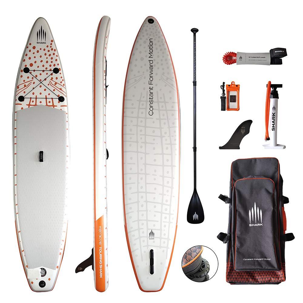 "Inflatable Stand Up Paddle Board-Shark SUPs STW360 (2020 11'8 Touring 30"" Wide 6"" Most Popular Design Including Super Pump 3-pc Adjustable Carbon Shaft Paddle Coil Leash Roller Backpack"