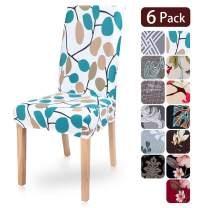 SearchI 6 Pack Dining Chair Covers Slipcover Protector, Super Fit Stretch Removable Washable Spandex Fabric Chair Cover for Dining Room, Hotel, Ceremony (Leafs, 6 per Set)