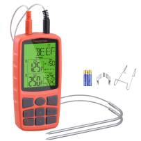 Regetek Cooking Food Meat Grill Thermometer Clock Timer Alarm for Smoker Oven Kitchen BBQ Dual Probe Digital LCD Backlight Thermometer