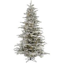 Vickerman Pre-Lit Flocked Sierra Tree with 400 Warm White Italian LED Lights, 6.5-Feet, Flocked White on Green