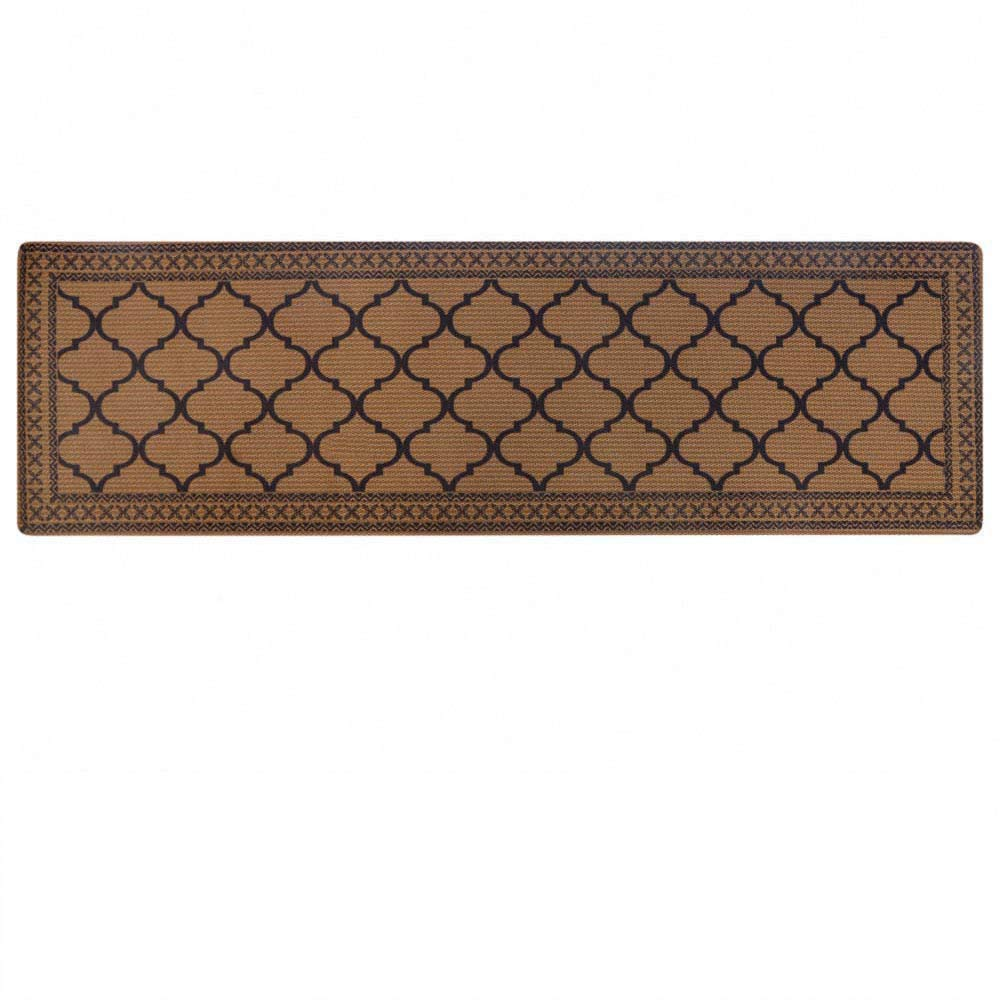 """Carvapet Moroccan Trellis Non-Slip Doormat Durable Honeycomb Texture Kitchen Rug Runner Carpet, Indoor Outdoor, Easy Clean, Low-Pile Mats for Entry, Garage, Patio, High Traffic Areas, 18""""x59"""", Coffee"""
