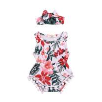 Newborn Baby Girls Clothes Floral Print Romper Sleeveless Pompom Tassels Jumpsuit Playsuit with Headband Outfits Set