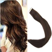 Full Shine Tape Extensions 100 Percent Brazilian Remy Human Hair 18 Inch Glue On Hair Color 4 Middle Brown Tape In Hair Extensions Skin Weft 20 Pieces Real Human Hair 50 Grams
