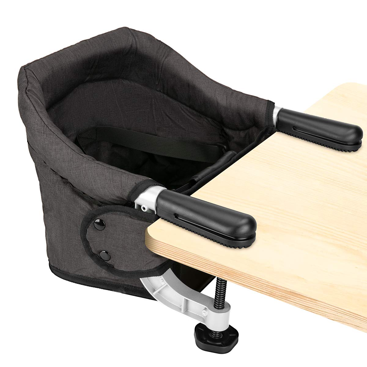 Hook On Chair, Fast Table Chair for Babies and Toddlers, Removable Seat Cushion, Tight Fixing Clip on Table High Chair (Black)