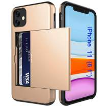 Case for iPhone 11 with Card Holder Dual Layer Wallet Slot Cover Hard PC Shockproof for iPhone 11 6.1 inch 2019 Release