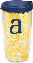 Tervis 1267993 INITIAL-A Blooming Tumbler with Wrap and Navy Lid 16oz, Clear