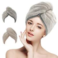 2 Pack Hair Towel Wrap, Microfiber Hair Towel, LEARJA Anti Frizz Absorbent & Soft Shower Head Towel, Rapid Dry Hair Towels, Long & Curly Hair Towels(Khaki & Gray)