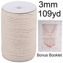 XKDOUS Macrame Cord 3mm x 109Yards, 100% Natural Cotton Macrame Rope Cotton Cord, Perfect Macrame Supplies for Wall Hanging, Plant Hangers, Crafts, Knitting, Decorative Projects