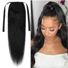 S-noilite Ponytail Extension Human Hair Tie Up Ponytail Hair Extension Drawstring Ponytail Hair Piece Clip in 100% Remy Human Hair Long Straight 20 Inch #01 Jet Black