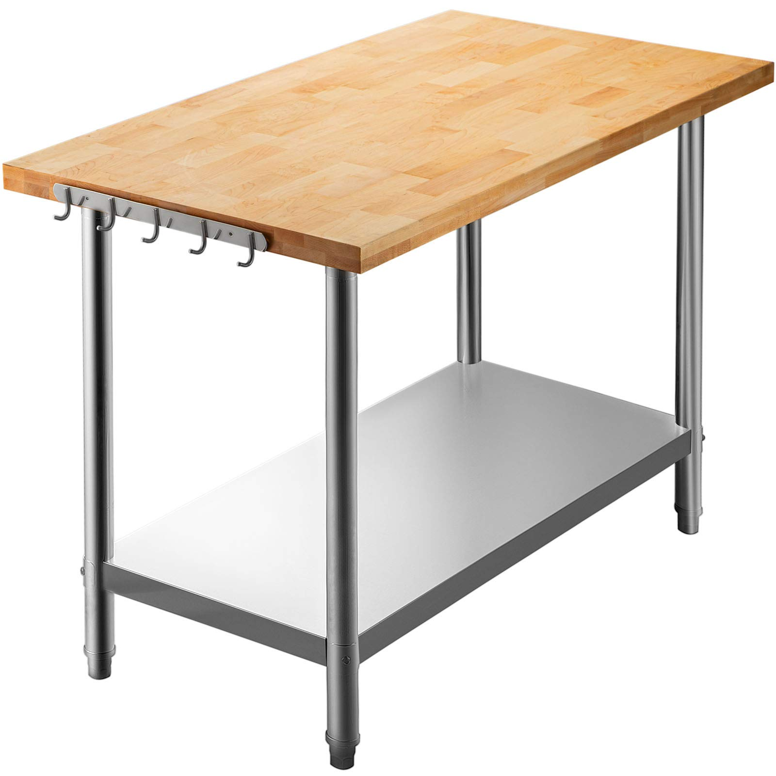 VEVOR Maple Top Work Table, 48 x 24 Inches Stainless Steel Kitchen Prep Table Wood, 1.5 Inch Thick Kitchen Maple Table with Lower Shelf and Feet, Stainless Steel Table for Home and Kitchen