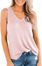 Chuanqi Womens Tank Tops V Neck Loose Fit Sleeveless Casual Waffle Knit Summer Tunic Shirts