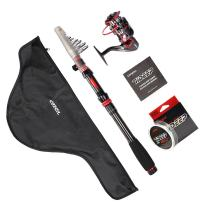 LONPAR Telescopic Fishing Rod and Reel Combos Nylon Line and Carrier Bag Suit for Travel Durable - Lightweight - Portable - Convenient Fresh or Salt Water Spinning Rod Kit