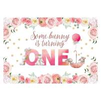 Funnytree 7X5ft Pink Floral Rabbit First Birthday Backdrop Watercolor Flower Baby Girl Bunny Photo Background Golden Glitter Spring Garden Easter Party Photography Decorations Cake Table Banner