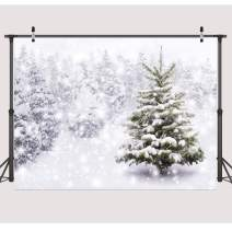 Dudaacvt 7x5ft Christmas Backdrops Xmas New Year Winter Forest Background for Kids Baby Shower Newborn Snow Trees Holiday Party Decoration Pine Snowy Photo Studio Props D082