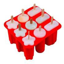 Silicone Popsicle Molds, 3-Shape, Red, 9-Cavity Homemade Pop Molds, 50pcs Wooden Sticks, Nonstick & BPA Free