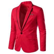 Mens Casual Slim Fit Suit Jacket 1 Button Daily Blazer Business Sport Coat Tops
