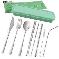 Travel Utensils, hyhjh Reusable Portable Cutlery Camping Utensil Set with Case Including Stainless Steel Knife Fork Spoon Chopsticks Cleaning Brush Straws Pack of 10 (Green)