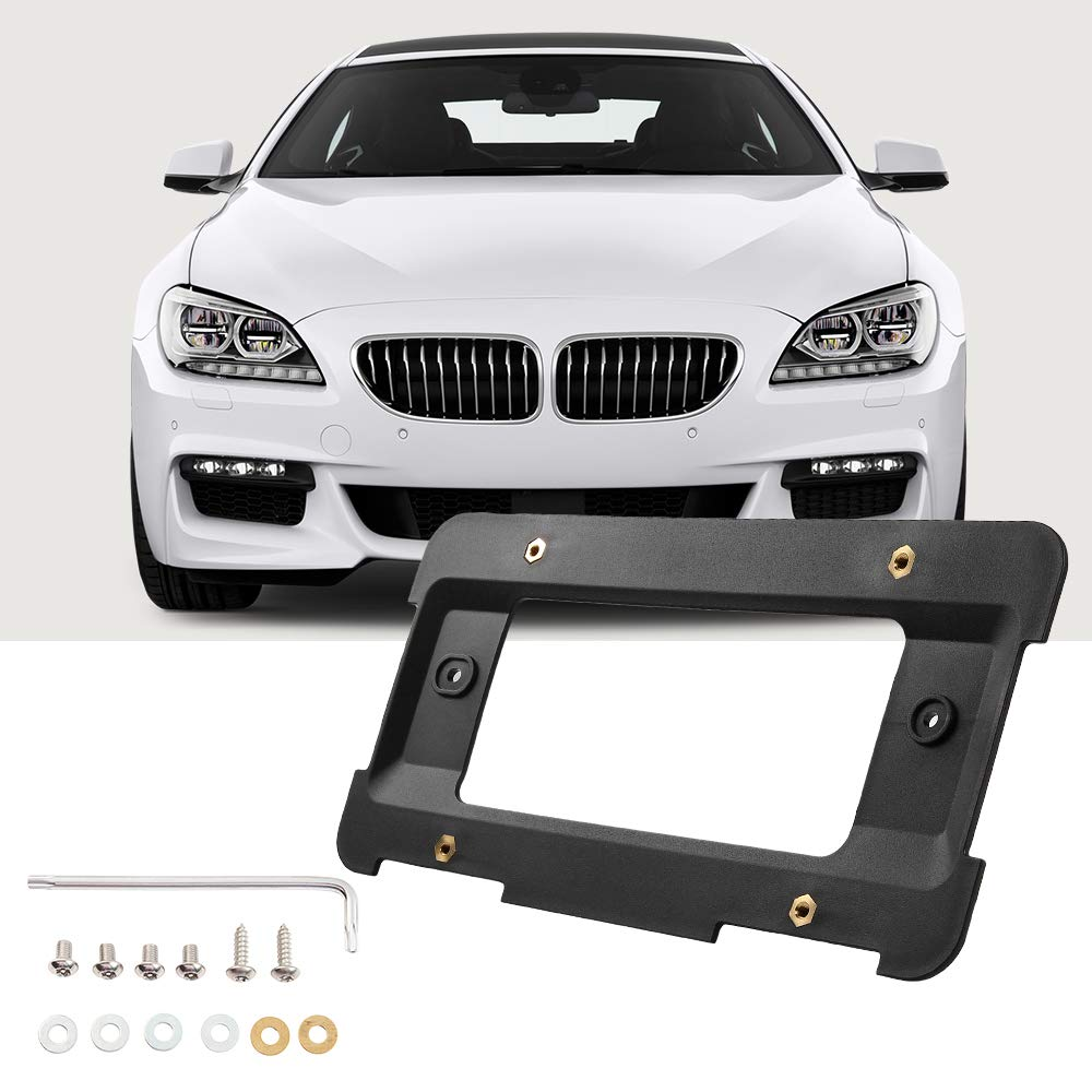 JoyTutus Fits BMW Rear License Plate Bracket Frame Mount Tag Holder for 1 to 6 Series Car Accessories Replaces 51187160607& 51188238061