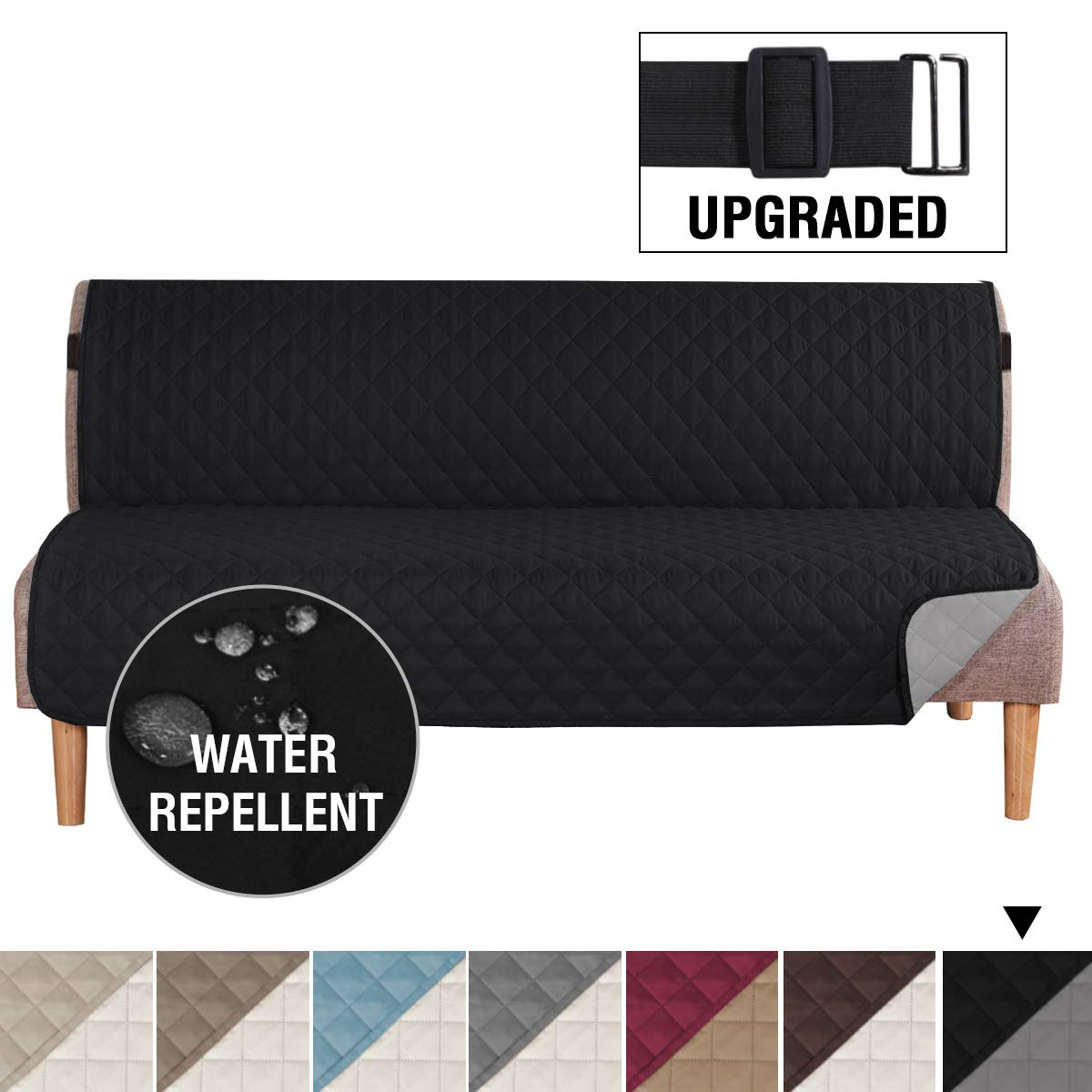 """H.VERSAILTEX Reversible Futon Slipcover Seat Width Up to 70"""" Washable Furniture Protector Water Repellent Futon Cover for Living Room 2"""" Elastic Strap Anti-Slip Futon Cover for Dogs Black/Grey"""