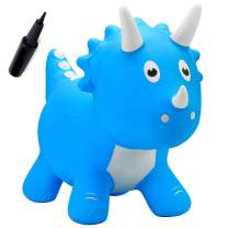 EVERICH TOY Dinosuar Bouncy Horse-Hopping Bouncy Animals for Baby-Inflatable Jumping Animals Toys-Horse Hopper Gift with Pump for 18Months 2 3 4 5Years Olds Kids Boys Girls(Sky Blue Triceratops)