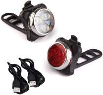 Arespark USB Rechargeable Bike Light Set, Super Bright Bicycle Light, Front and Rear Bicycle Light Set,4 Light Modes, 2X Longer Battery Life,Waterproof (2 USB Cables, 4 Straps)