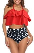 I2CRAZY Womens Retro Ruffle High Waisted Swimsuit Halter Neck Bikini Set Two Piece Bathing Suit Swimwear