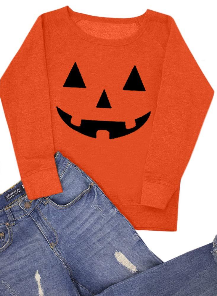 For G and PL Women's Halloween Long Sleeve Pumpkin Skeleton Sweatshirts