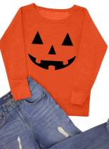 For G and PL Women's Halloween Long Sleeve Pumpkin Skeleton Sweatshirts