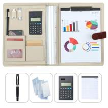 Simbow Padfolio Portfolio Folder A4 Size with File Pockets Calculator Notepad Pen, Slots for Phone/Cards -Padfolio Ring Binder Office Organizer Folder for Business Conference Resume (Ring Coffee)