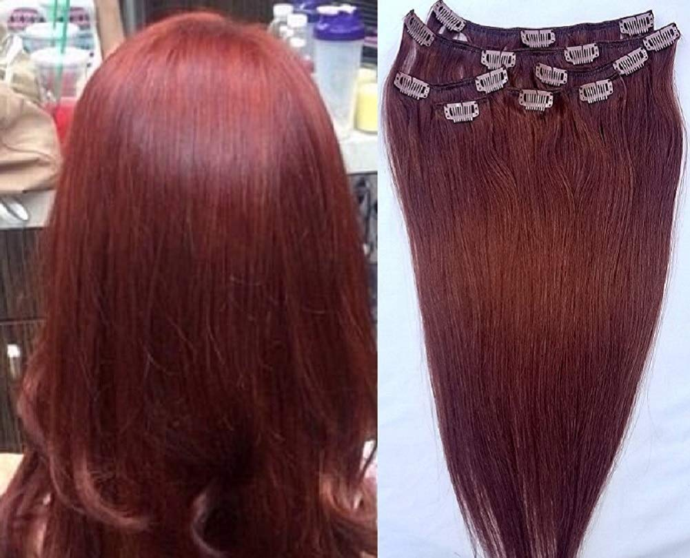 """Hair Faux You 24"""" Clip in Hair Extensions Real Human Hair 100g Clip on for Full Head 7 pieces, 14 clips, Silky Straight Weft Remy Hair Color #33 Dark Auburn"""